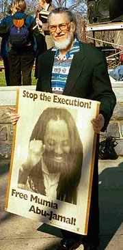 Dennis Brutus demonstrates in support of Mumia Abu-Jamal