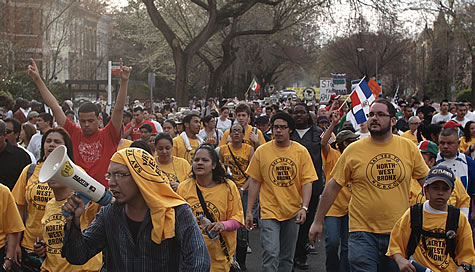 protestors marching
